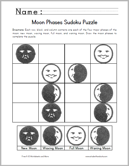 photo about Sudoku Puzzles Printable Pdf known as Moon Stages Sudoku Puzzle for Children - Cost-free in direction of print (PDF