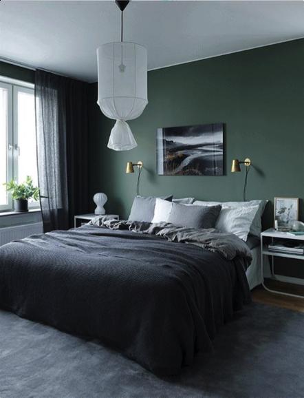 Donker groene wand in de slaapkamer | Moodboard bedroom in 2018 ...