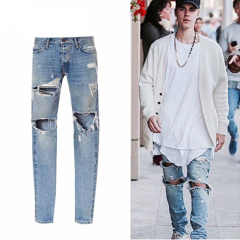 Kanye West Fear Of God Men S Washed Ripped Casual Jeans Ripped Jeans Style Ripped Jeans Men Jeans Street Style