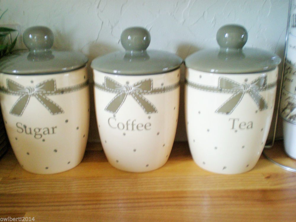 COUNTRY KITCHEN BOWS SET OF 3 AIR TIGHT TEA COFFEE SUGAR JARS STORAGE  CANISTERS £14.99