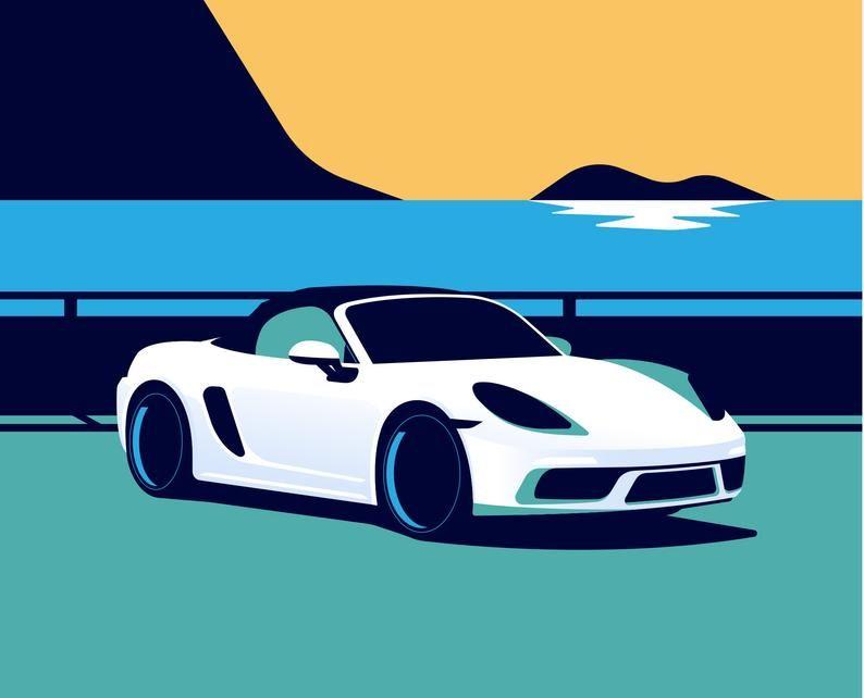 Porsche Boxster 718 On Natural White Matte Fine Art Paper Etsy 英国 ポスター