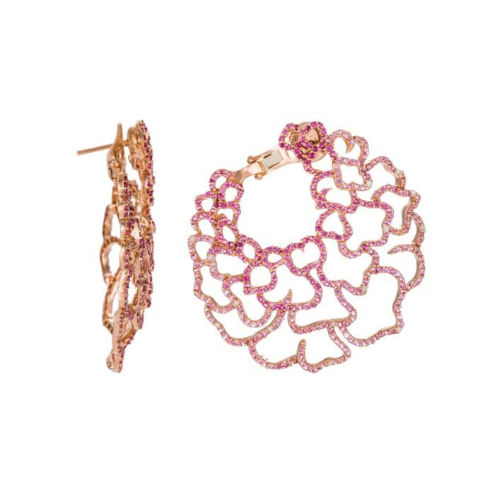 Piranesi Jewelry 18K Rose Gold Pink Sapphire Hoop Earrings (=)