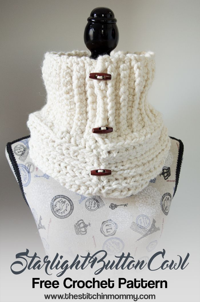 Starlight Button Cowl - Free Crochet Pattern | Chal y Tejido