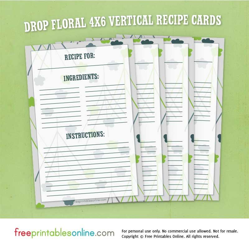 Drop Floral  Vertical Recipe Cards Free Printables Online