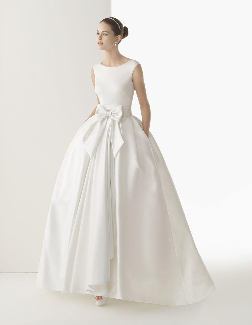 Long silk knit wedding dress with raw silk skirt. Rosa Clará 2014 ...