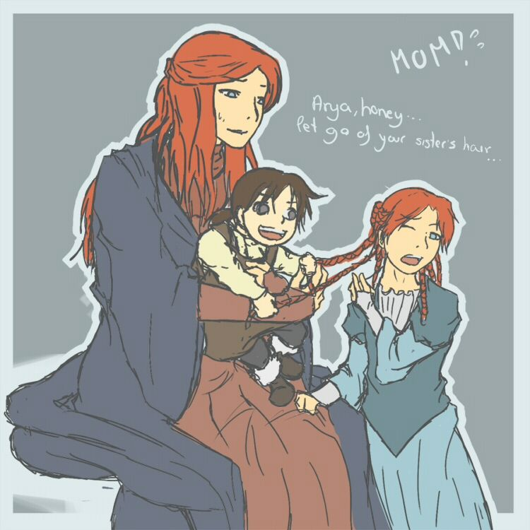 ASOIAF: Catelyn and her girls by NamiAne