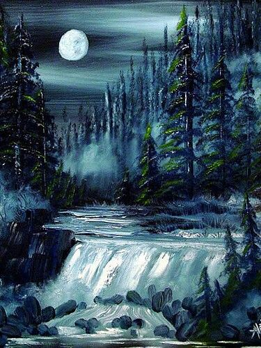 Moonlight Waterfall (With Images) Waterfall Paintings, Night Sky