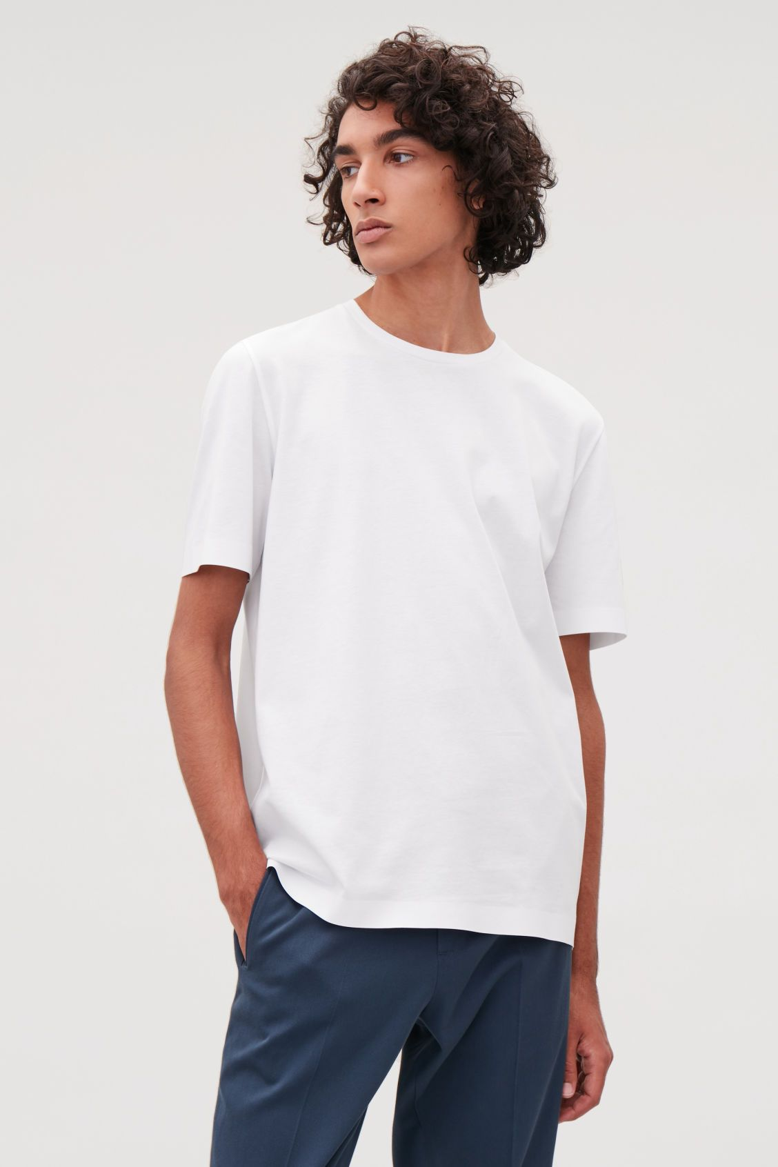 b5aa43e7a85 Model side image of Cos bonded cotton t-shirt in white