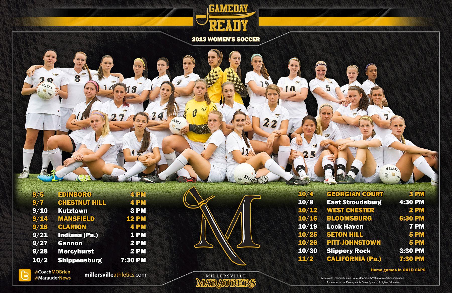2013 Millersville Women S Soccer Schedule Poster Womens Soccer
