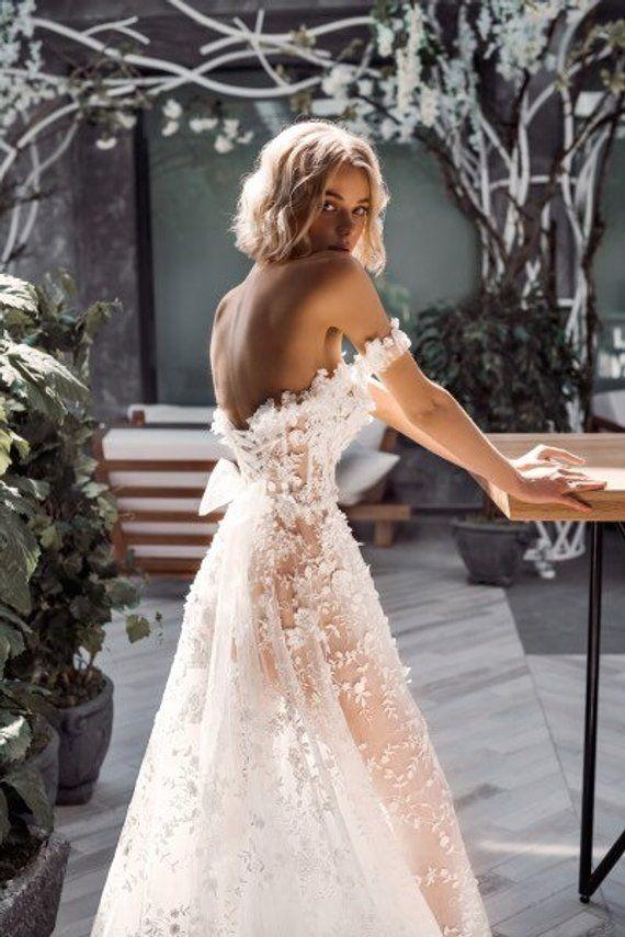 3d lace Elegant boho ivory wedding dress blush white sleeves train embroidered tulle gown wedding dress bohemian Corset Open Lace Transparen