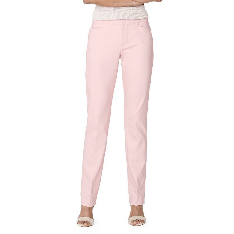 87336a3b17c502 Women's Chaps Solid Straight-Leg Pants, Size: 10, Pink