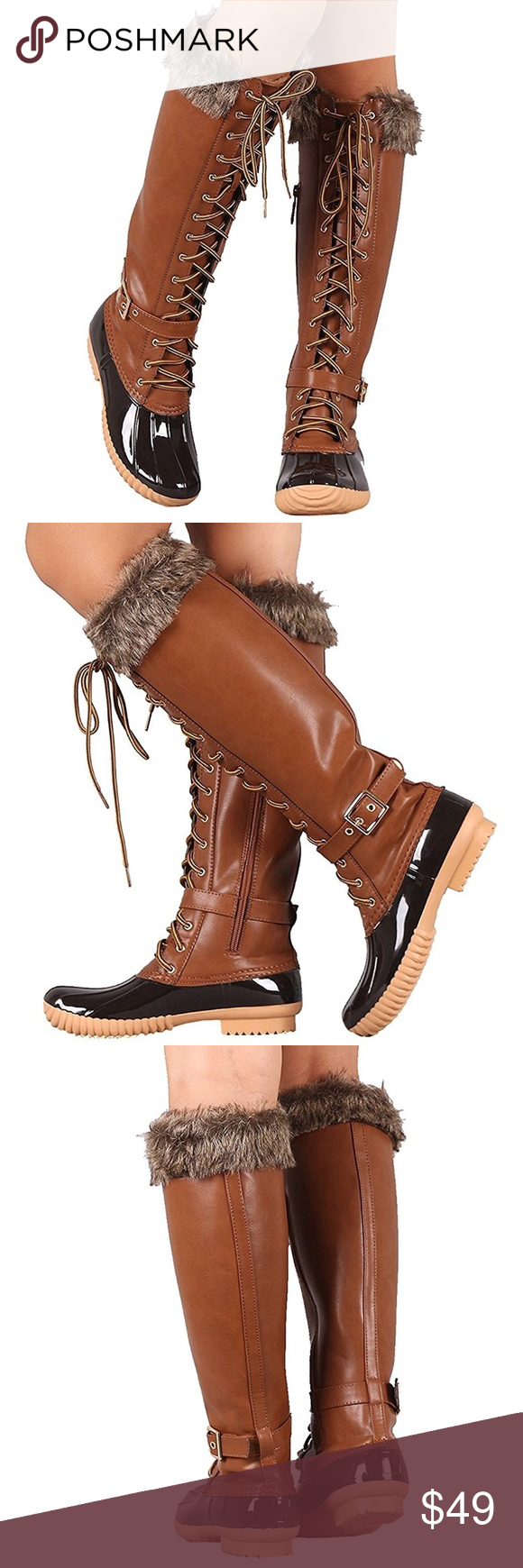 1c3f2beb677 Knee High Waterproof Duck Boots! NEW! Gorgeous vegan leather with faux fur  trim!