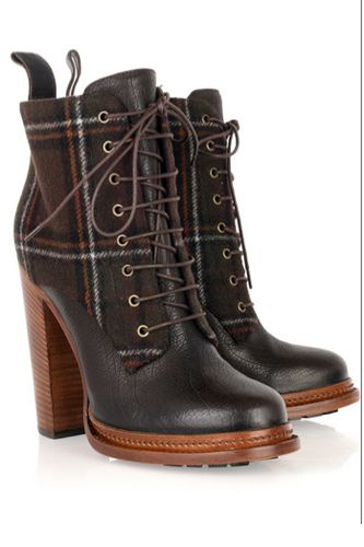Dolce & Gabbana Plaid and Leather Lace-Up Boots