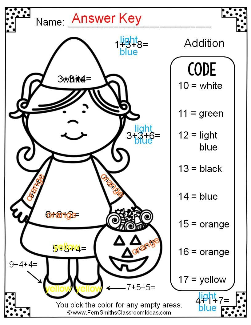 Two Free Halloween Color By Numbers Addition With Three Single Digit Addends Worksheets Halloween Math Worksheets Math Coloring Worksheets Halloween Worksheets