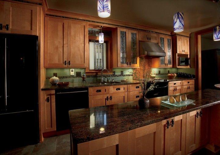 Light Walnut Cabinets, Green Backsplash