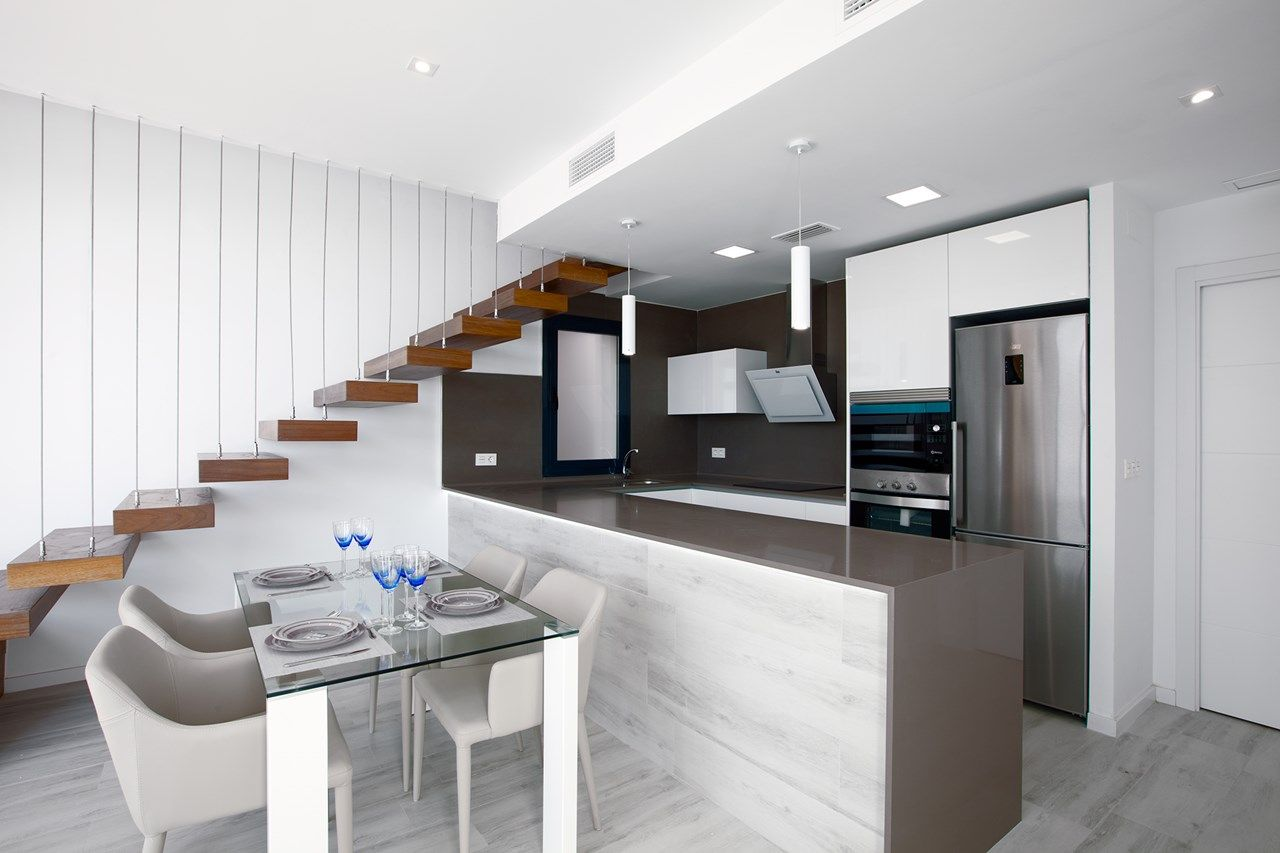 Modern Stairs and Kitchen in 2020   Kitchen remodeling ...