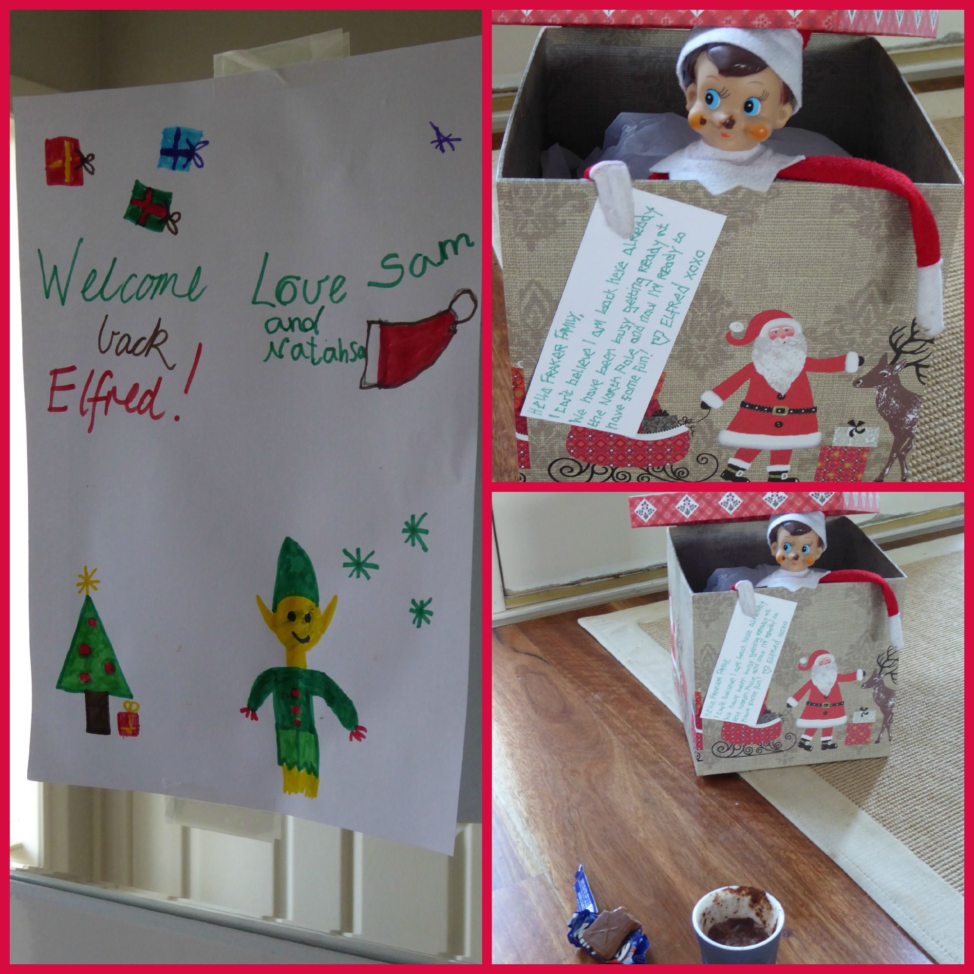 Elf on the shelf - day 1: arrival. The kids made a welcome sign & left out milo & a milky way hoping he would return. The milo on his face shows he enjoyed his welcome gift.