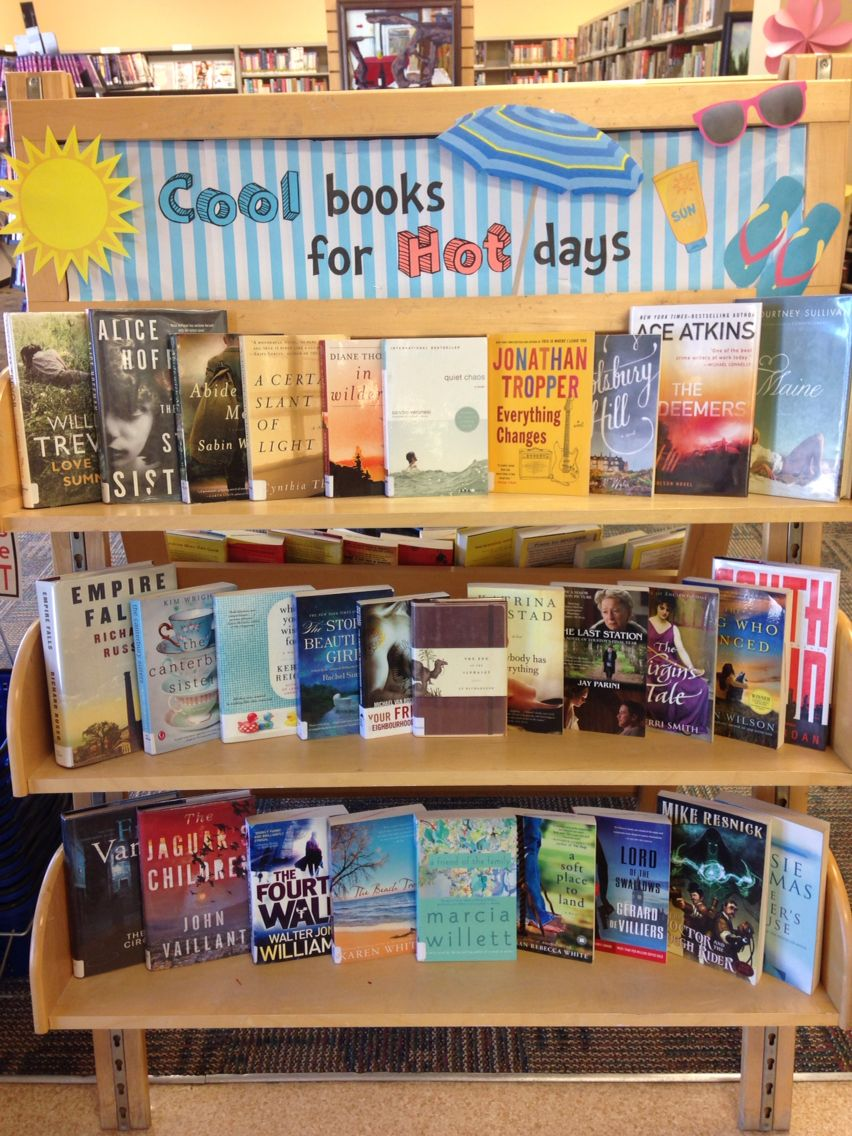 June display--cool books for hot days | Library | Library book