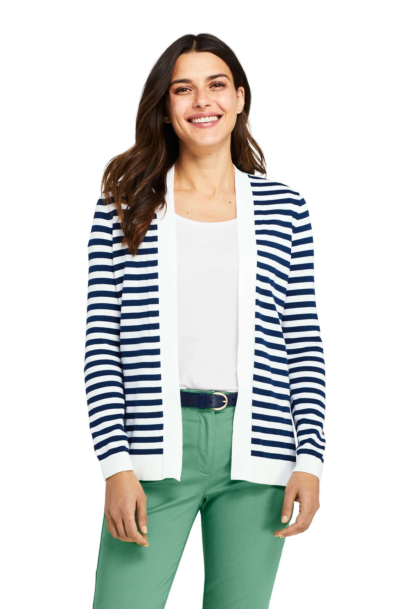 63c17045daf Women's Long Sleeve Supima Stripe Open Cardigan Sweater from Lands' End