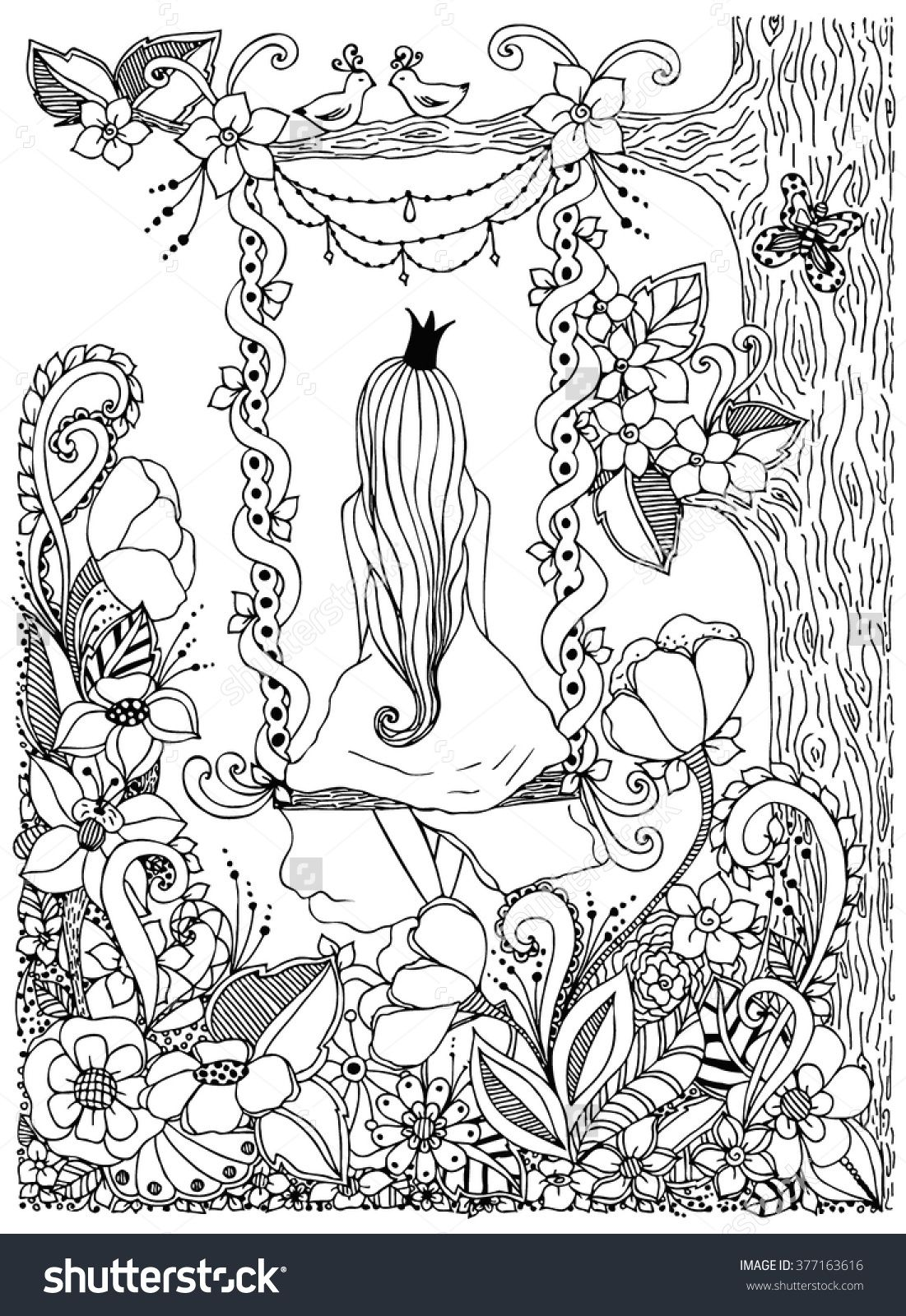 Princess zentangle riding on a swing. Garden, flowers, birds in a ...