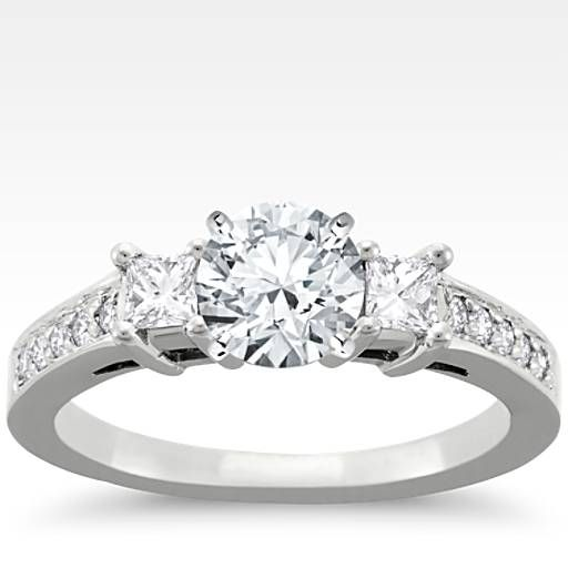 pictures of ring settings 14 carat white gold Trio Princess Cut
