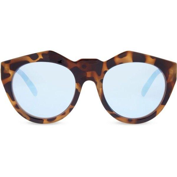 LE SPECS Neo Noir sunglasses (190 ILS) ❤ liked on Polyvore featuring accessories, eyewear, sunglasses, milky tort, mirrored lens sunglasses, folding sunglasses, mirror lens sunglasses, mirror sunglasses and blue mirror sunglasses
