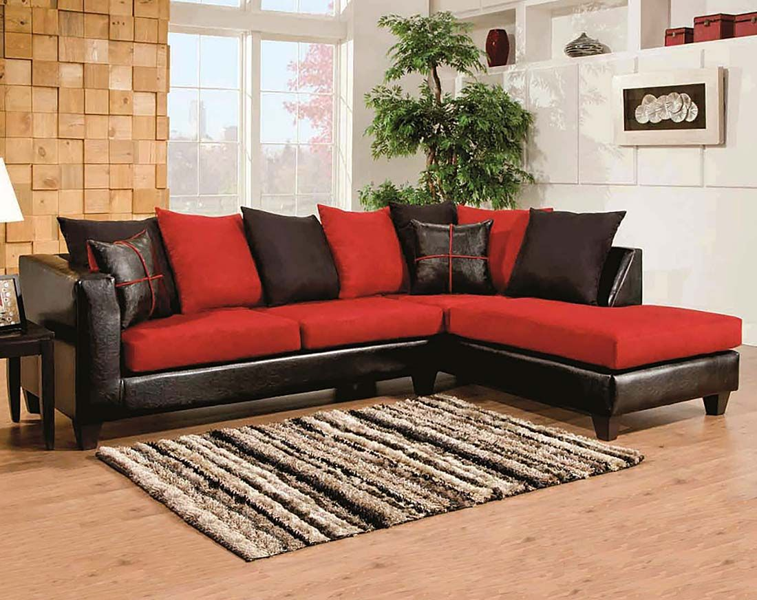 Red, Black Couch, Microfiber | Sierra Cardinal 2-Piece Sectional ...