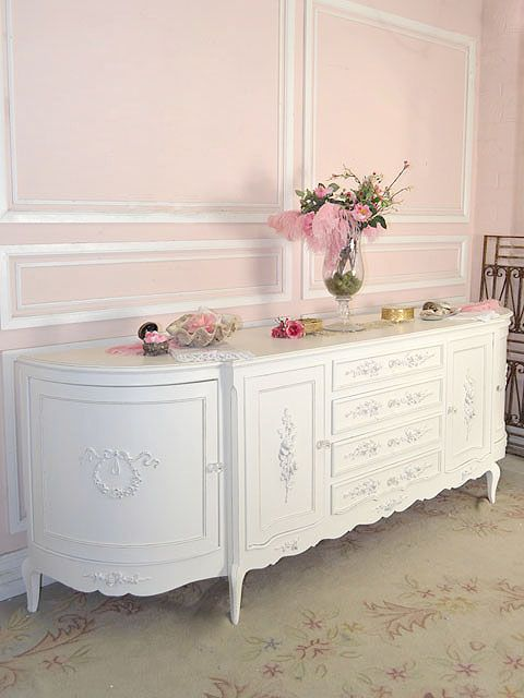 Chic White Long Buffet Dresser with Roses
