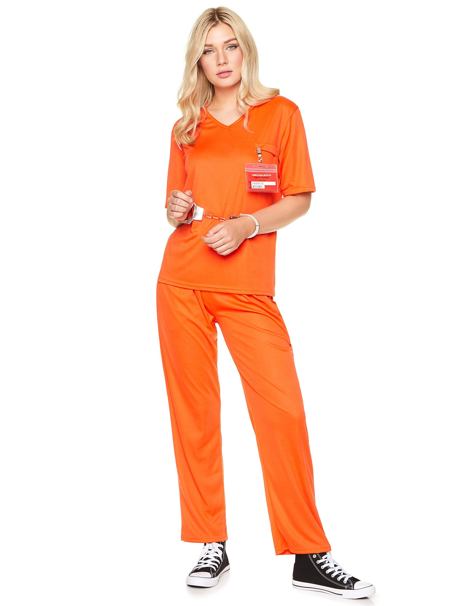 418ea70e Prisoner costume for adults: This prisoner costume for women includes a  shirt, trousers and a badge. (Shoes and handcuffs not included.