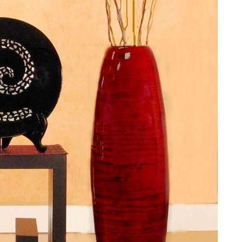 large tall decorative floor vase large floor vases 36 red mahogany bamboo - Decorative Floor Vases