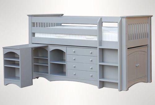The Childrens bedroom company Majestical Cabin Bed with Desk  Chest and  Cpboard  Available in 6 colours. Childrens bedroom company Majestical Midsleeper Image   Loads of