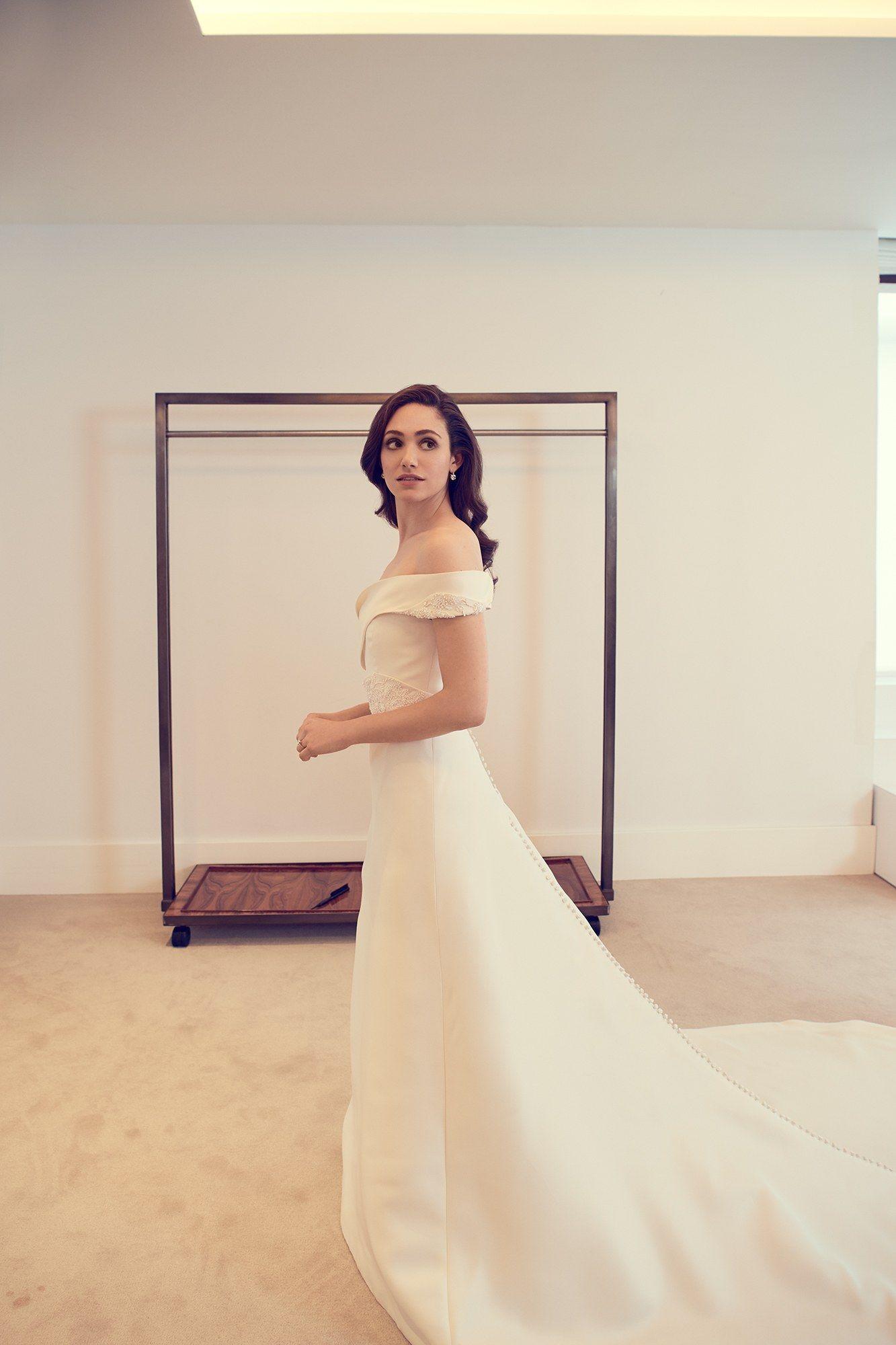 Emmy Rossum Wears Carolina Herrera To Wed Sam Esmail In New York