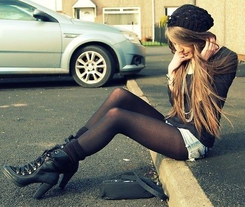 Casual clothing with panty hose and shorts  black beanie faded denim shorts leggings and boots