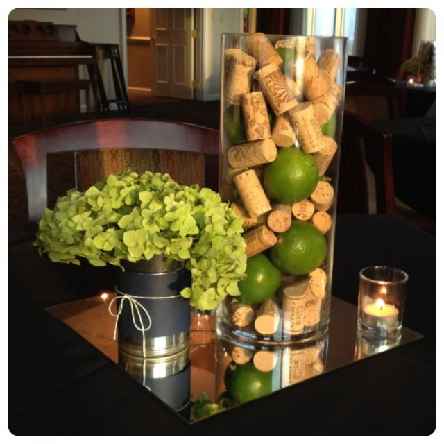 This is fun. I will have unlimited hydrangeas in April & May. I also have a tall vase like this that we could fill with green apples