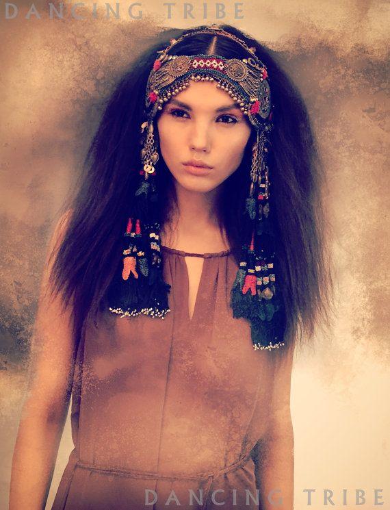 Tribal Nomad Desert Tassel Headdress Tribal Headpiece with Tassels Kuchi Pendant Headdress Tribal Belly Dance ATS Ethnic Festival Headdress