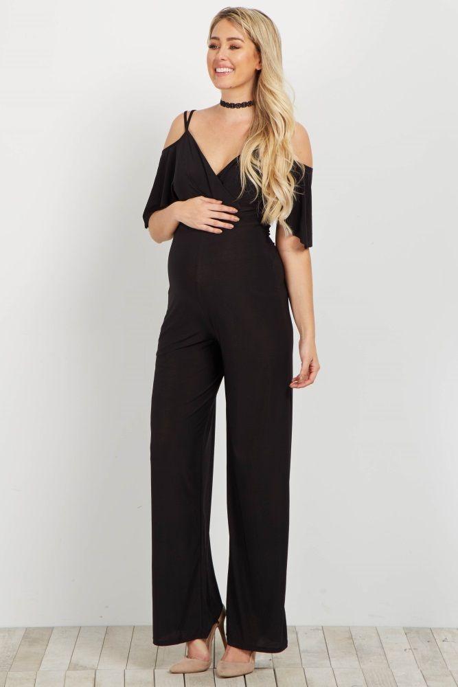 143b561168f0 Black Cold Shoulder V Neck Jumpsuit. Black Cold Shoulder V Neck Jumpsuit  Maternity Evening Wear ...