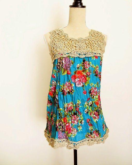 0fa01e56e Palinha de crochê para blusa ou vestido de tecido.Você pode usar com  qualquer square de crochê, desde que consiga fazer a metade dele pa.
