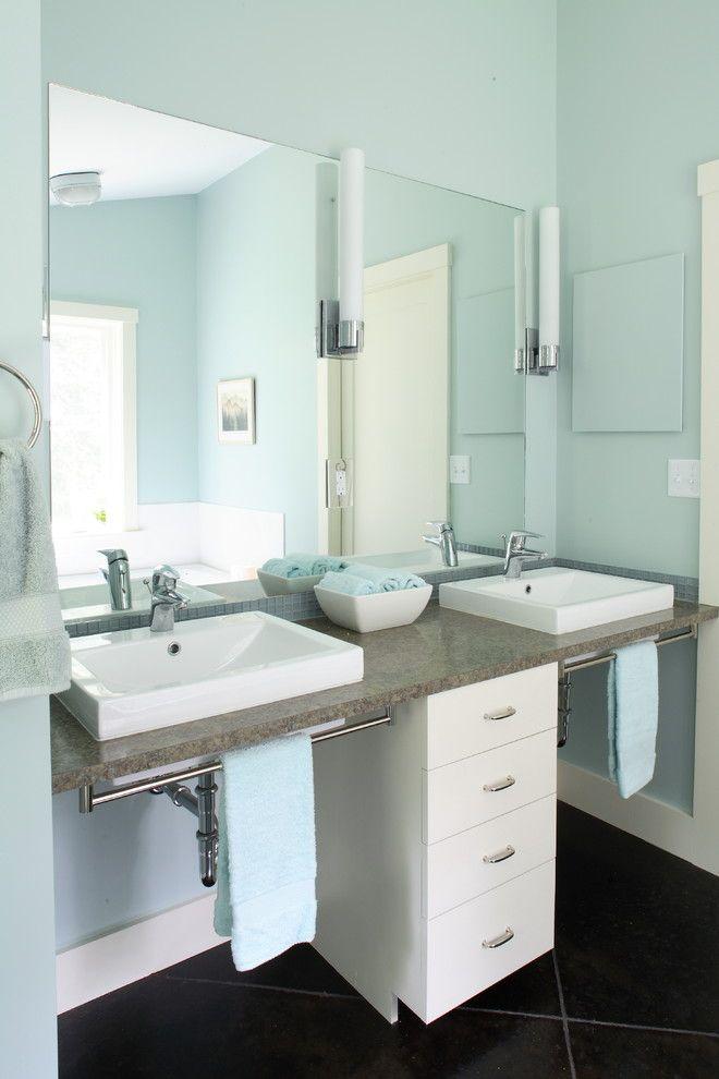 Two White Sinks With Brown Marble Vanity Towel Rack Under
