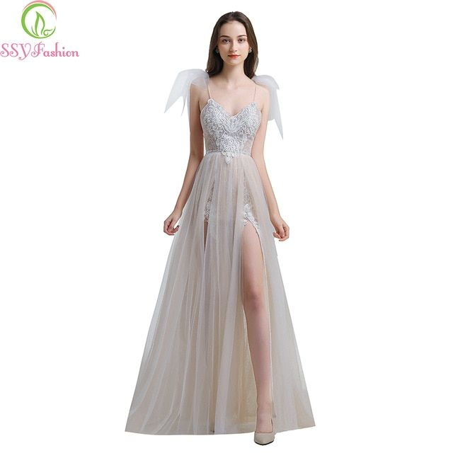 e804b7cf89 SSYFashion 2019 New Sexy Lace Evening Dress V-neck Sleeveless Sweep Train  Backless Formal Prom Gowns Robe De Soiree Custom Made Review