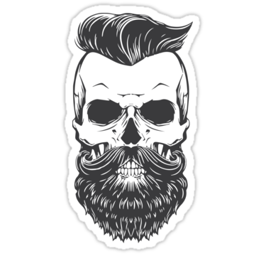 Vintage hipster skeleton sticker by doriends
