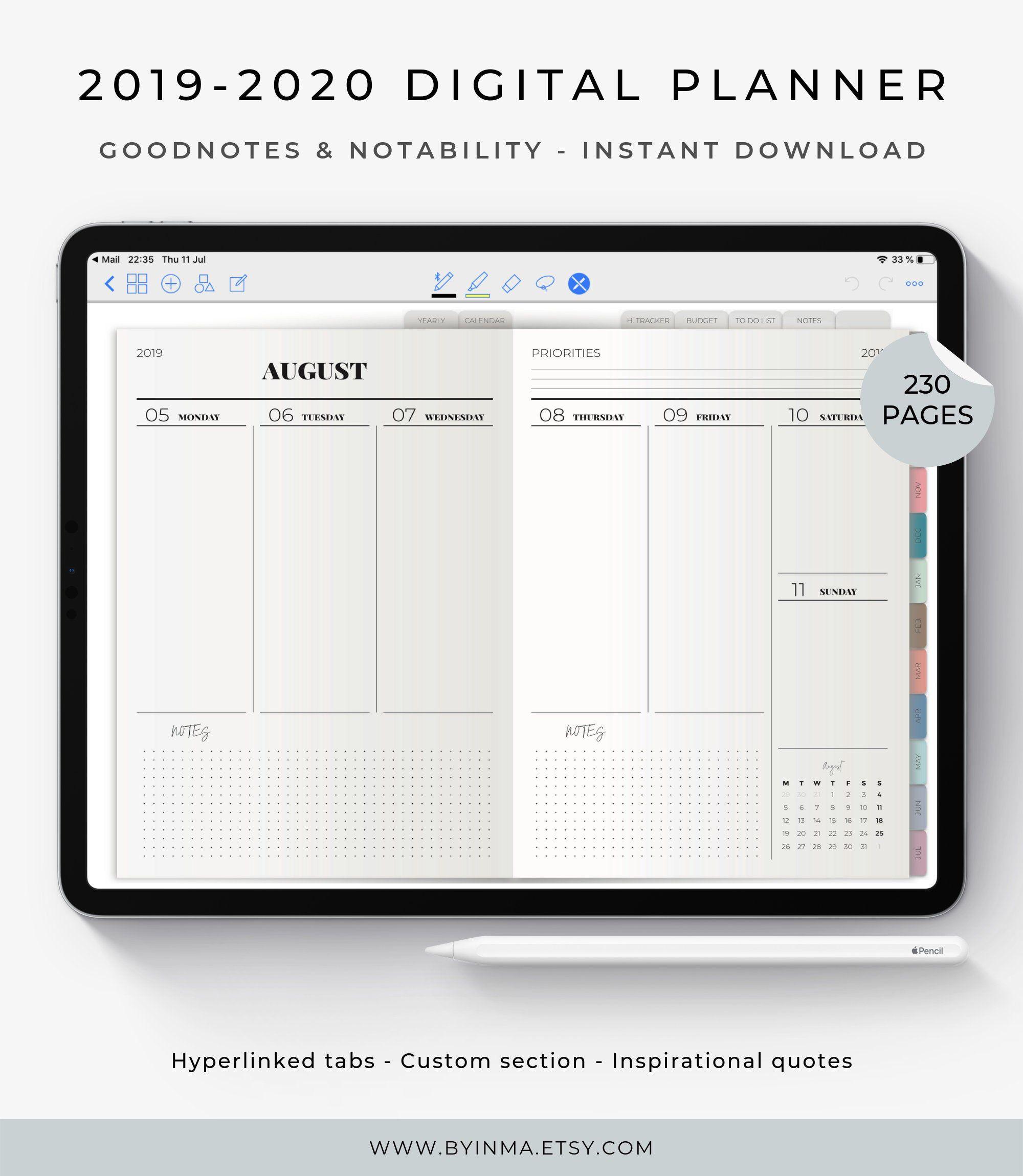 Digital Planner 2019 2020 Ipad Planner Goodnotes Planner Notability Planner Tablet Planner Goodnotes Template Academic Planner Digital Planner Academic Planner Planner