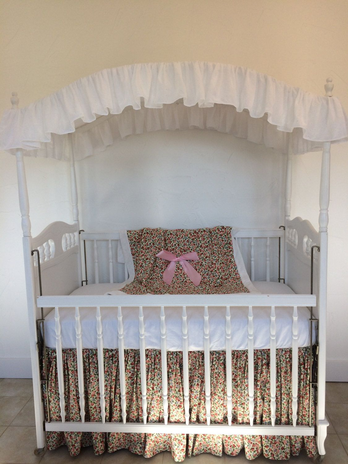 Baby cribs with canopy - Embroidered White Eyelet Baby Crib Canopy Cover