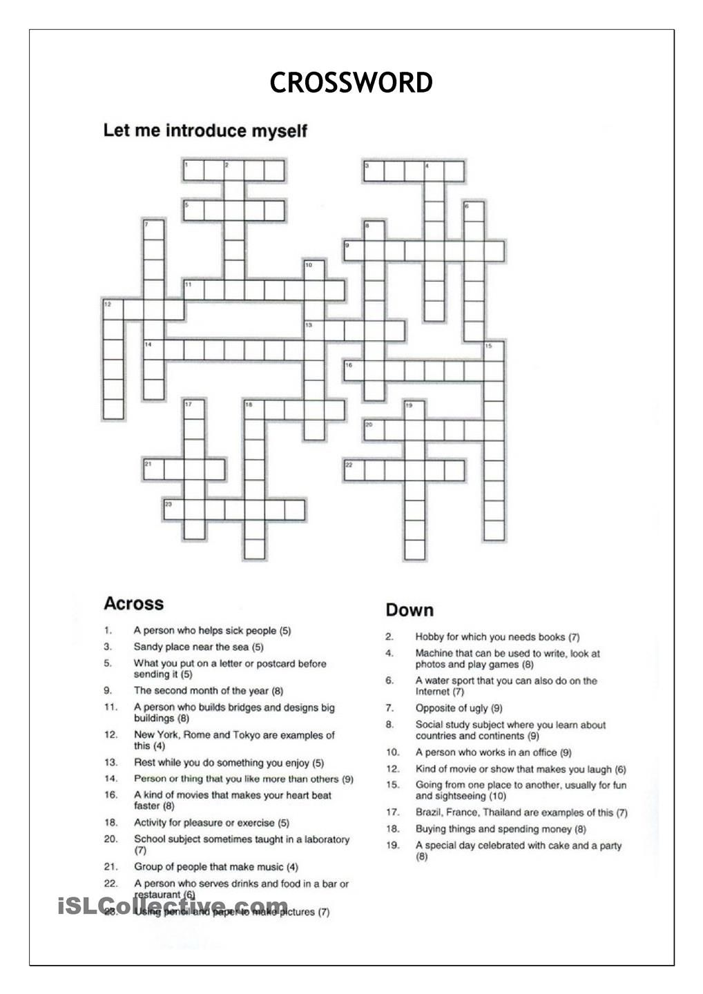 Crossword Let Me Introduce Myself Crossword Word Puzzles Reading Comprehension Worksheets