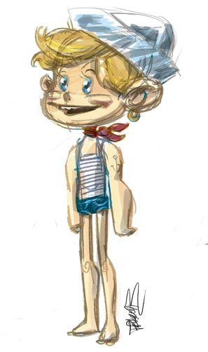 Marinero infantil mar dibujo ilustración diseño de personajes