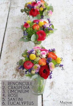 Multicolore plus petit tables bouquet bouquet mari e bouquet mari e color et bouquet - Deco table multicolore ...