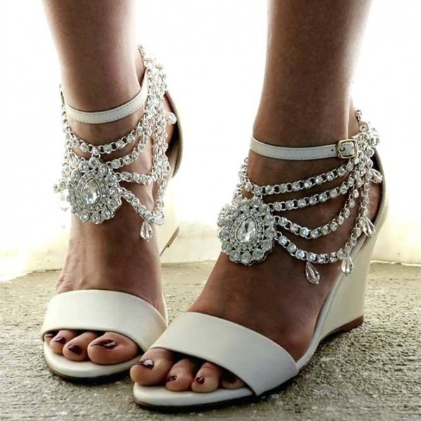 Newest white silver sexy lace platform wedge heels dress