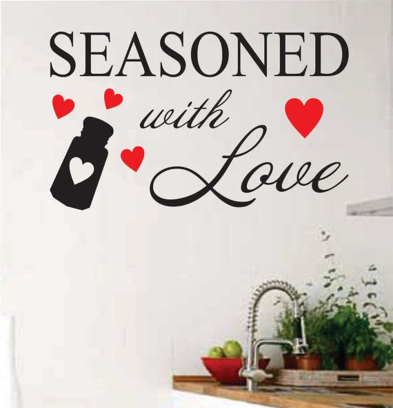 red hearts seasoned with love kitchen decal kitchen wall decor vinyl wall lettering vinyl on kitchen decor quotes wall decals id=89221
