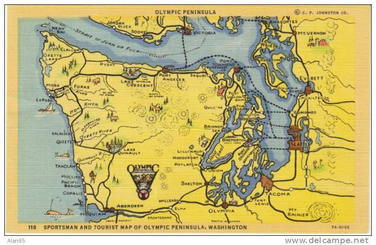 Olympic Peninsula Washington State Map On Vintage Linen Postcard: Vintage State Maps At Codeve.org