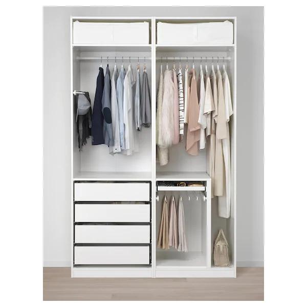 Armadi Ikea Ad Angolo.Pax Guardaroba Bianco Fjellhamar Bambu Chiaro 150x66x236 Cm