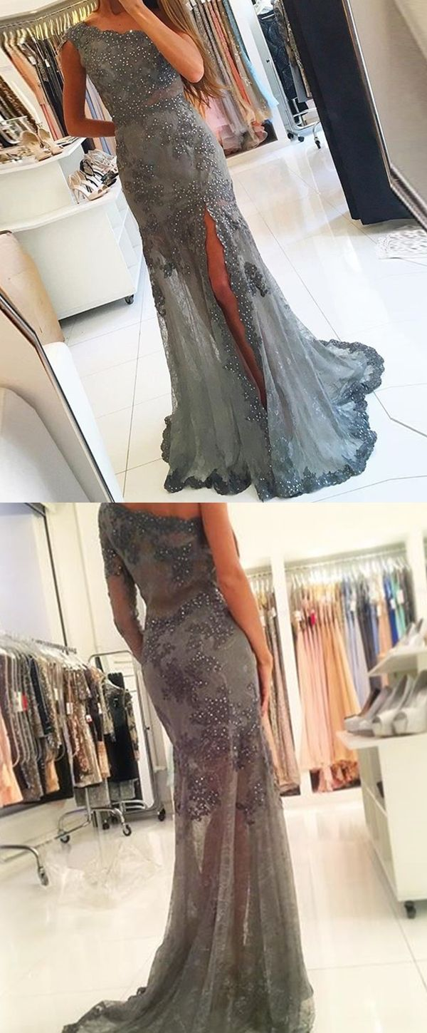 Sheath one shoulder grey tulle prom dress with beading appliques
